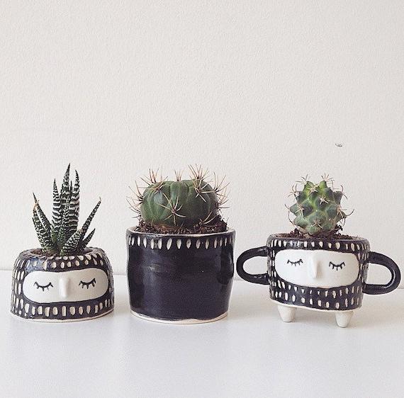 B W Planter Set Small Plant Pot Cute Plant Pot By