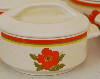 Temperware by Lenox-Fire Flower-Individual covered casseroles-set of 4-bright orange poppies-mod dining-small personal casseroles