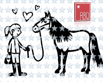 Horse Pony and Girl Love Hearts Hoseback riding women Equestrian Digital Cut File Download SVG dxf EPS Jpeg PNG Vector commercial use