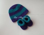 Crochet Baby Hat and Booties Set/0-3 months/Newborn Photo Prop/Ready to Ship