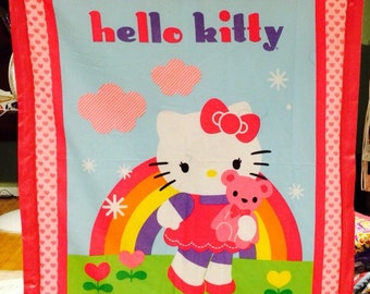 hello kitty homemade baby quilt 45 1/2 by 35 pink back!