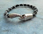 Homemade black braided leather bracelet / ladies men jewelry / antique silver python snakes closure / handmade jewelery / trending item