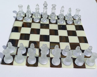 Glass Chess Board Etsy