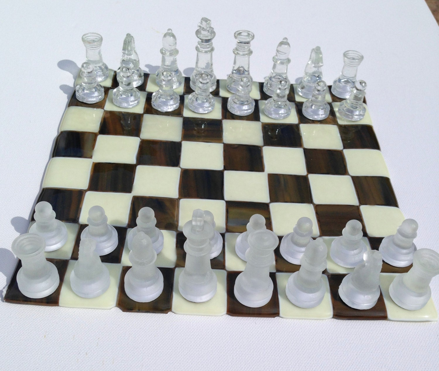 Chess Board Glass Chess Set Fused Glass Handmade In The Uk