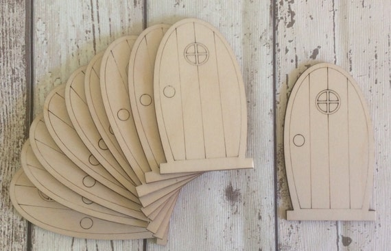 Pack of 10 unpainted laser cut faerie fairy doors perfect for for Unfinished fairy door