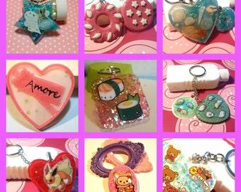 3 creations resin surprise. Kawaii, cute. Key rings, earrings, necklace