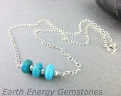 Dainty Turquoise Chakra Necklace, Kingman Turquoise, Sterling Silver,  Throat Chakra Necklace, Healing Crystals, Chakra Energy Jewelry