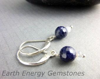 Blue Sapphire Earrings, Healing Earrings, Prosperity, Balance, Serenity, September Birthstone, Gift for Her, Chakra Energy Healing