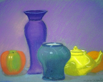 "Still Life in Blues and Yellows - giclee print of original pastel painting 10"" x 8"""