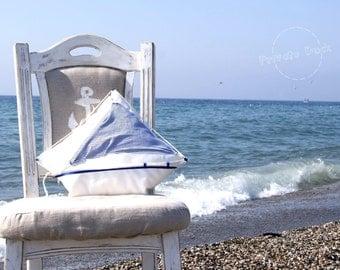 Nautical Pillow Yacht - Nautical Art, maritime nautical home decor, sailor style, navy blue white. Unique gift for sailor!
