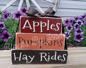 Apples Pumpkins Hay Rides Wood Blocks