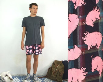 90's vintage men's checked pink pig printed shorts