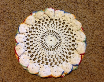 Vintage White Doily with Ruffled Edges