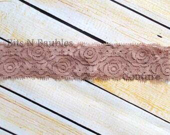 Tan lace elastic headband - headband supplies - lace hair ties - diy supplies - diy headband supplies