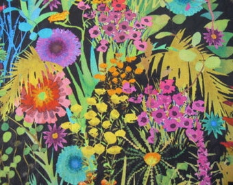 TRESCO  1.00 Metre by Liberty on Tana Lawn Cotton  in Multi Colours on a Black Background 1m x 136 cms (39 ins x 54 ins)