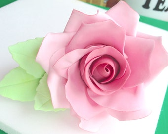 Medium handmade wired sugar rose cake decoration - made in any colour