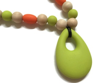 Nursing Mom Infant Teething Necklace Natural Wood and Beautiful Food Grade Silicone Beads Lime