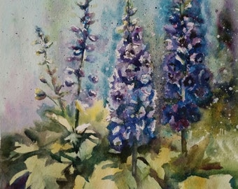 "Delphinium is an 11""x14"" original watercolor painted on 300lb Arches watercolor paper"