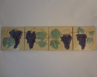 Set of 4 grape tiles