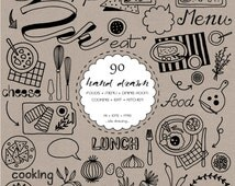 90 Hand Drawn Foods Digital Clipart - Food Banner-Menu-Logo-Kitchen-Cooking-Kitchen Decor-Chalkboard-Food Icons-Scrapbooking-Foods Drawing