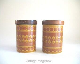 Hornsea Saffron Salt and Pepper shakers, vintage pottery, ceramic tableware, 1970s home decor