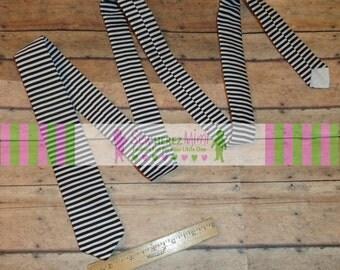 Skinny Necktie Black White Horizontal Stripe Sizes Infant, Child, Youth, Teen and Men