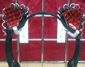 Metallic Ring Black Leather Cat Ears