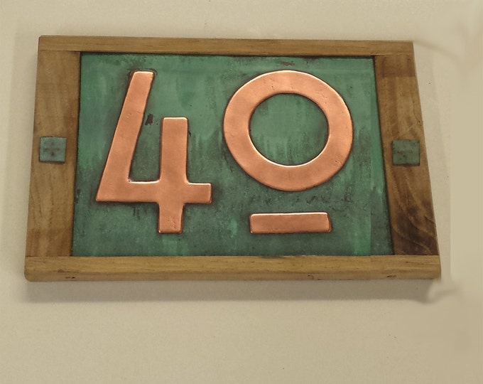"Mission Mackintosh  house numbers, Oak framed Copper address plaque, 2 x nos 3""/75mm or 4""/100mm, polished, patinated and laquered g"