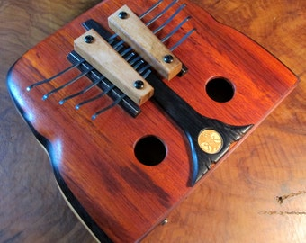 Handcrafted wooden Kalimba, 10 note, thumb piano. Unique design