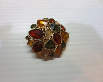 Stunning autumn harvest multi color stones signed KC brooch.