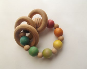 Wooden Baby Rattle | Wood Teething Toy | Wooden Teether | New Baby Gift | Organic Baby | Waldorf Toy | Baby Shower Gift