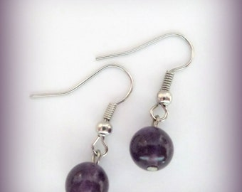 Purple earrings - Amethyst Gemstone -  gemstone earrings - earrings
