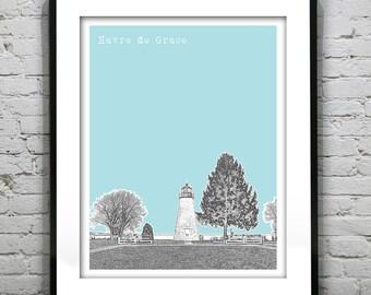 Havre de Grace Maryland Skyline Print Print MD Concord Point Lighthouse