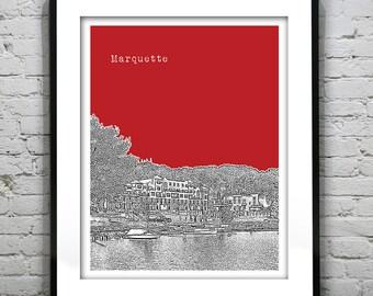 Marquette Skyline Art Print Poster Michigan MI Version 2