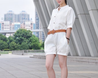 Beige Jumpsuits Lady Casual Linen Summer Pants (717)
