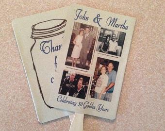 Rustic Kraft Photo Mason Jar Wedding Anniversary Programs fans -75