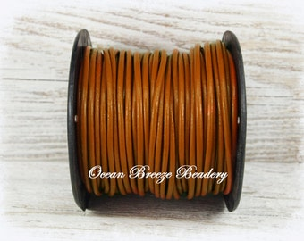 2mm Leather Cord . 9 feet . Henna Brown