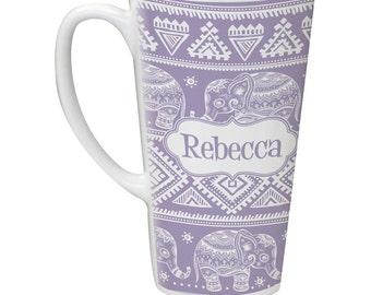Baby Elephant Personalized Latte Mug