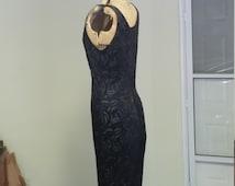 Vintage 80-90's  Silhouette Black See Through Velvet Roses Long Sleeveless Side Leg Split Dress Size Medium  By KING'S FASHION  Gorgeous!!