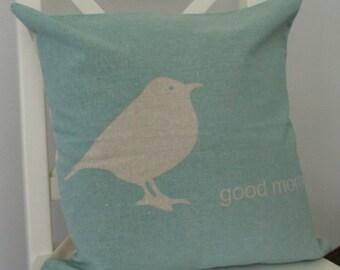 Bird Pillow Cover, Bird Nursery Decor, Bird Home Decor, Blue Bird Pillow Cover, Linen Pillow Cover
