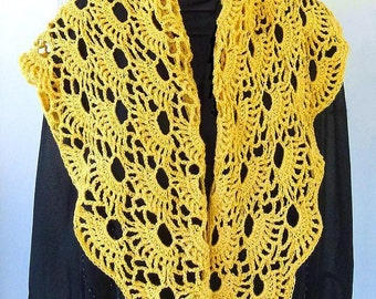 Shawl, Bridal Party Shawl made with soft Mercerized Cotton,  Marigold Bridesmade Shawl, Asymmetrical Wedding Wrap