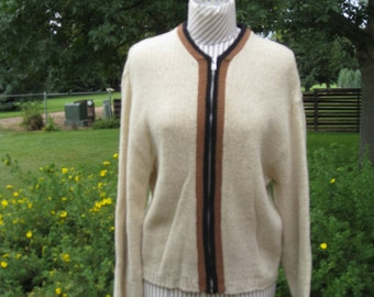 1950's Men's Shetland Wool Cardigan Sweater/ Zipped Sweater/ Wool Cardigan By Jerisild Size M