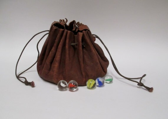 Vintage Leather Marble Bag With 50 Marbles Drawstring Pouch