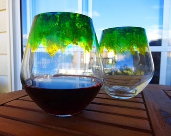 Green-Yellow' Lead-Free Crystal. Hand Painted Red Wine Tumblers. Price is for two. In stock.