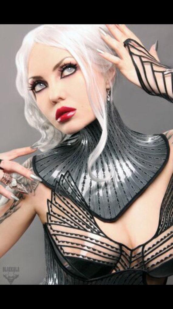 Giger Dark fetish gothic victorian neck corset armor necklace