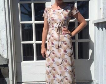 Floral Beige Mesh Maxi Dress