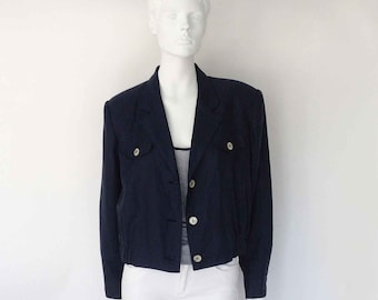 The Cove Nautical Navy Linen Cropped Boxy Blazer M, L: Vintage 80's Womens Jackets, Navy Jacket, Summer Top, Boxy Top, New Wave