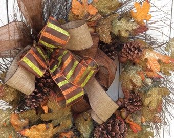 Burlap Fall Wreath,Fall Door Wreath,Burlap Leaf Wreath, Fall wreath, Burlap Fall Door Hanger, Fall Door Décor, Harvest Wreath, Autumn Wreath