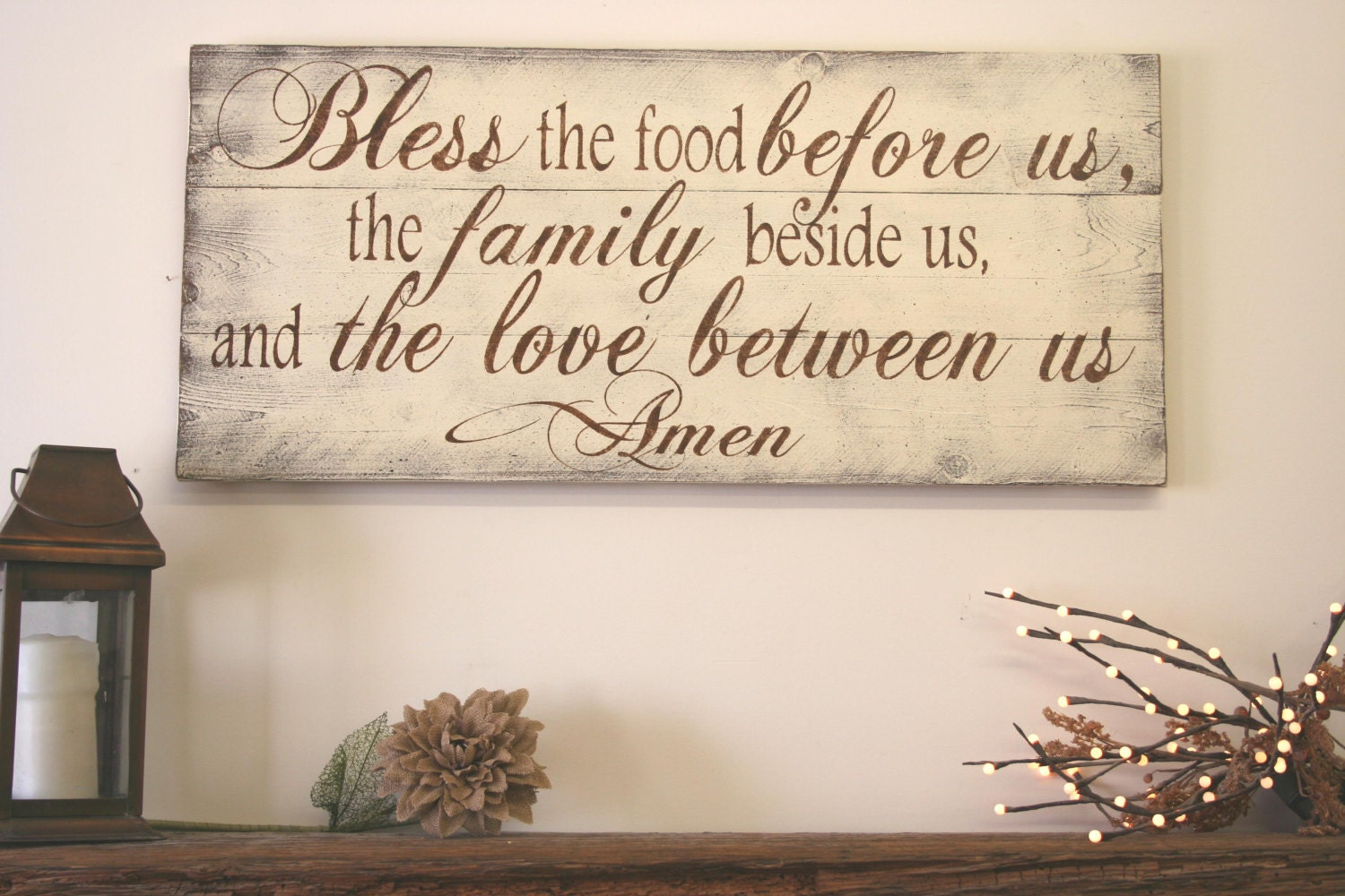 Bless the food before us wood kitchen sign by rusticlyinspired for Kitchen dining room wall decor