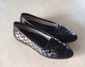 Vintage 90s cole haan preppy woven black leather loafers 8